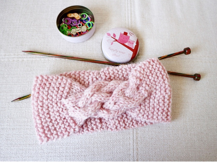 Cable + garter stitch knitted Headband